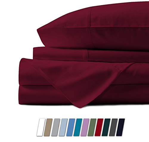Mayfair Linen 100% Egyptian Cotton Sheets, Burgundy Queen Sheets Set, 800 Thread Count Long Staple Cotton, Sateen Weave for Soft and Silky Feel, Fits Mattress Upto 18'' DEEP Pocket