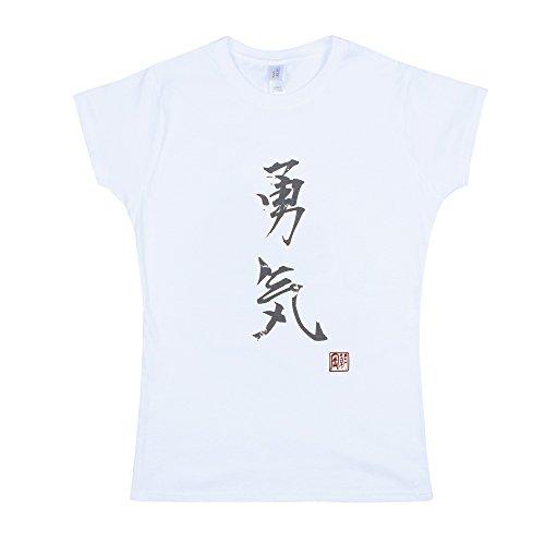 japonais pour homme – Yuki/Courage – calligraphie japonaise Imprimé pour femme pour femme T pour homme – Blanc - Blanc - Medium