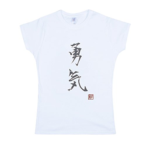 Strand Clothing Japonais pour Homme – Yuki/Courage – Calligraphie Japonaise Imprimé pour Femme pour Femme T pour Homme – Blanc - Blanc - Medium