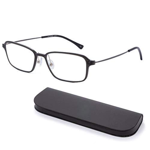 MIDI-ミディ おしゃれ 老眼鏡 MIDIポケット 14mmの極薄メガネケースに収納 ブルーライトカット 紫外線カット メンズ 軽量 アイヴォリーブラック (MP-11,C2,+0.75