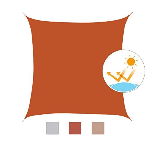 Outsunny Toldo Vela Rectángulo 3x3m Vela de Sombra para Terraza Jardín Camping Resistente al Agua Protección UV Poliéster Color Oxido Rojo