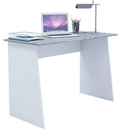 VCM Schreibtisch Computertisch Arbeitstisch Büromöbel PC Laptop Tisch Möbel Weiß/Beton-optik 74x110x50 cm