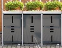 edi Garden Mülltonnenbox Metall - Mülltonnenverkleidung Mit Pflanzwanne Für 3 Mülltonnen Mit 120/240 Liter - Anthrazit