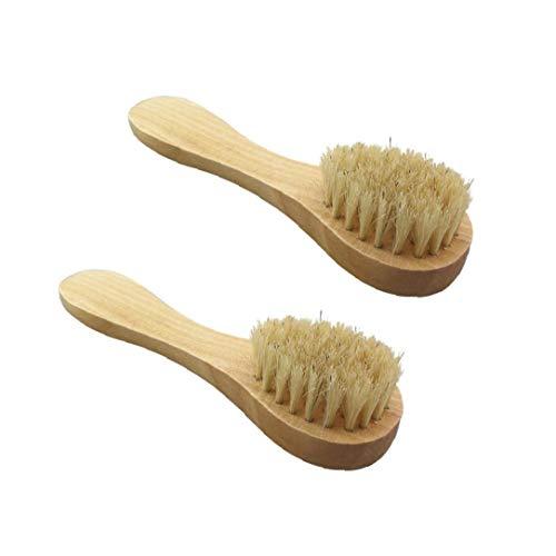 2 Pcs visage manuel brosse nettoyante visage Brosse douce soies manche en bois pour le lavage face profonde Pore exfoliation Wash Maquillage Masser Brosse