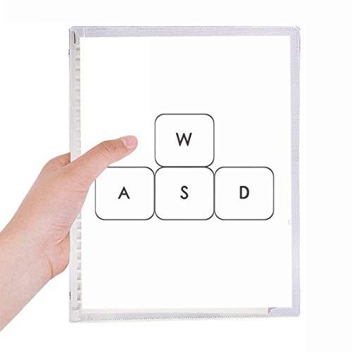 Keyboard Symbol ASWD Notebook Loose-leaf Spiral Refillable Journal
