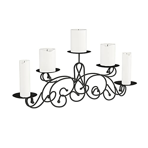 """Lavish Home (Matte Black 5 Candelabra with Classic Scroll Design-Handcrafted Iron Candle Holder/Centerpiece for Home Décor, Wedding, Event, 24.2"""" x 4.8"""" x 8.7"""