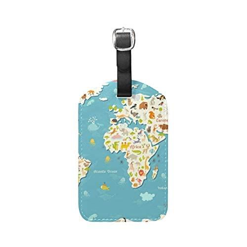 Etiqueta de identificación de viaje para equipaje con mapamundi de animales para maleta de equipaje 1 pieza