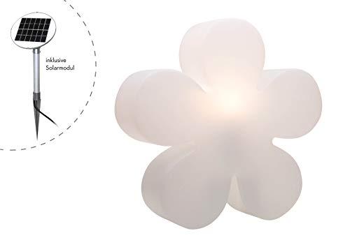 Preisvergleich Produktbild 8 seasons design / Solar LED Blume Shining Flower (Ø 60cm groß,  Solarmodul,  Lichtsensor,  warmweiß,  Gartenleuchte,  Deko Außenlampe Garten) weiß