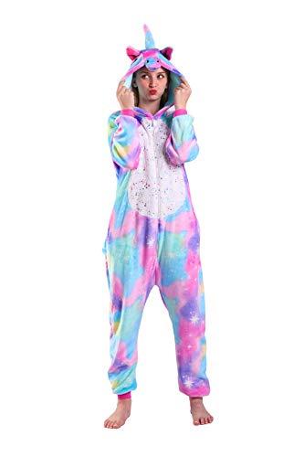 EJsoyo Onesie Pajama Women Adult and Teenagers Sleepwear Christmas Halloween Cartoon Animal Unicorn Cosplay Costume (Rainbow Unicorn, L)