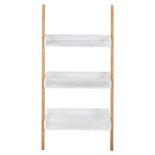 House of Living Art White Ladder Shelf - 3 Tier Bamboo and MDF Shelving
