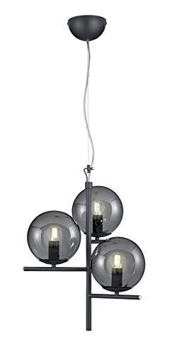 Trio Leuchten Pendelleuchte Pure 302000342, Metall Anthrazit, Glas rauchfarbig, exkl. 3x E14