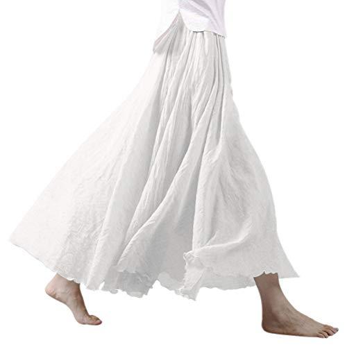 Nlife Frauen böhmische Polyester Double Layer elastische Langer RockMaxi, White, 95CM