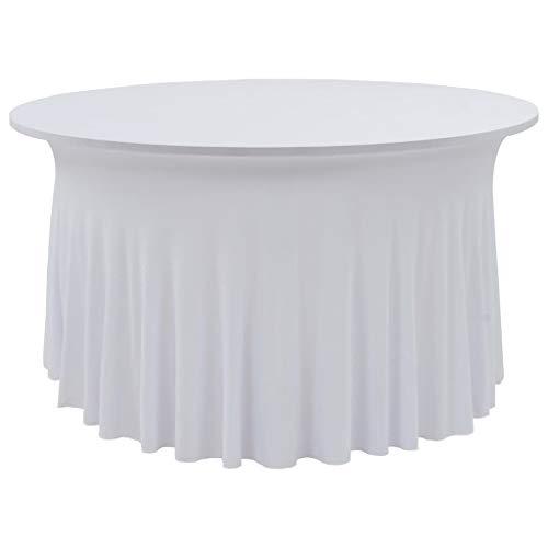 RIKOJ - Juego de 2 fundas elásticas para mesa (150 x 74 cm), color blanco