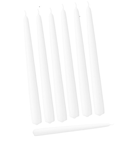 D'light Online Elegant Taper Candles 12 Inches Tall Premium Quality Candles, Hand-Dipped, Dripless and Smokeles and Unwrapped Bulk Pack for Events - Set of 12 (White)