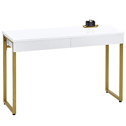 GreenForest Vanity Desk Glossy White Makeup Table 39.4inch with 2 Drawers Modern Computer Console Table with Metal Bronze Legs for Living Room Entryway Hallways,Golden