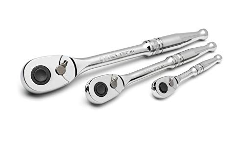 SATA 3-Piece Quick-Release Ratchet Set with Teardrop Head, Full-Polished Chrome Solid Handle, 1/4, 3/8, 1/2-Inch - ST14901U