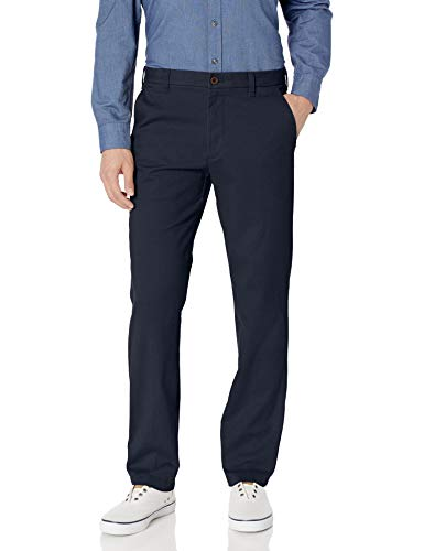 IZOD Men's Performance Stretch Straight Fit Flat Front Chino Pant, Navy, 34W x 30L