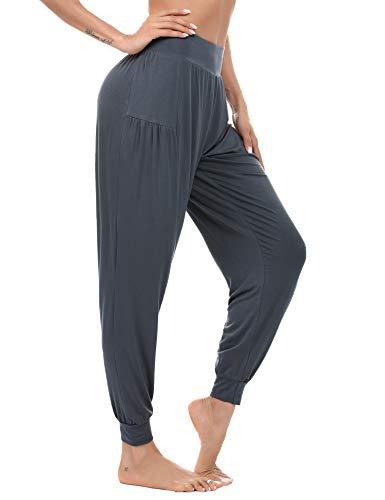 Akalnny Pantalon Sarouel Femme, Pantalon Fluide Femme été -Super Doux Et Respirant -Long pour Yoga Jogging Pilates Fitness,Gris Foncé,XXL