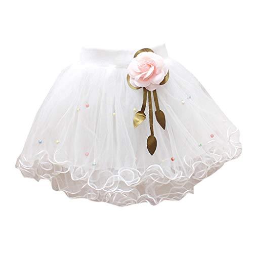 YWLINK MäDchen Zeigen Tanz Party Blume Prinzessin Mesh Karneval Minirock Mit Perlen Elastische Taille Tutu Rock (Weiß,8)