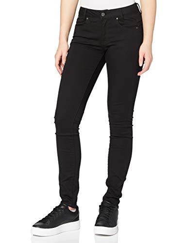 G-STAR RAW Damen Jeans D-Staq 5-Pocket Mid Waist Skinny, Schwarz (Rinsed 8970-082), 31W / 34L