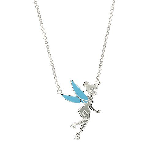 """Disney Tinkerbell Jewelry for Women, Silver-Plated and Enamel Necklace, 18"""" Chain"""