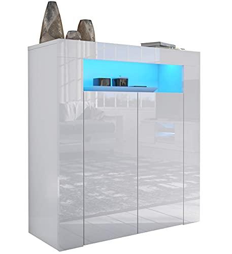Furneo High Gloss & Matt White 2-door Sideboard Cabinet Cupboard Unit Clifton01 Blue LED Lights