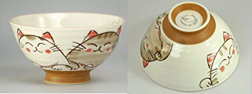 Japanese rice bowl set, ceramic, cute smiling cats design, set of 2 bowls Pink