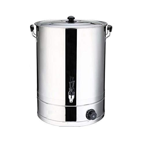 Elektrischer Heißwassereimer Kommerzieller offener Eimer aus rostfreiem Stahl, verdickendes isoliertes Fass mit großem Fassungsvermögen (Color : Silver, Size : 20L)
