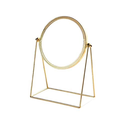 Leilims Maquillage Miroir grossissant Décoration Miroirs Miroir Rond en métal Miroir de Bureau Accueil Miroir cosmétique for Les Filles des Femmes Dames (Color : Light Golden)