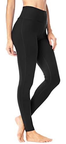QUEENIEKE Women Yoga Pants Hidden Pockets Workout Running Tights Plus Size Sport Leggings M Midnight Black
