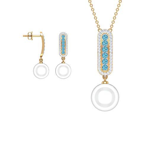 Rosec Jewels 18 quilates oro amarillo redonda round-brilliant-shape H-I White Diamond Perla de agua dulce