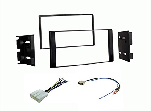Car Stereo Dash Mount Kit Wire Harness and Antenna Adapter Combo to Install a Double Din Size Aftermarket Radio- Made for 2013-2020 Nissan NV200 and 2015-2018 Chevrolet City Express