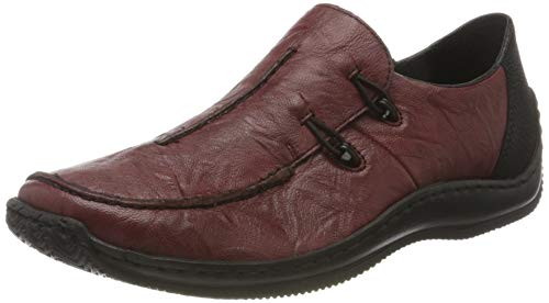 Rieker Damen L1751-35 Flacher Slipper, Wine/schwarz 35, 39 EU