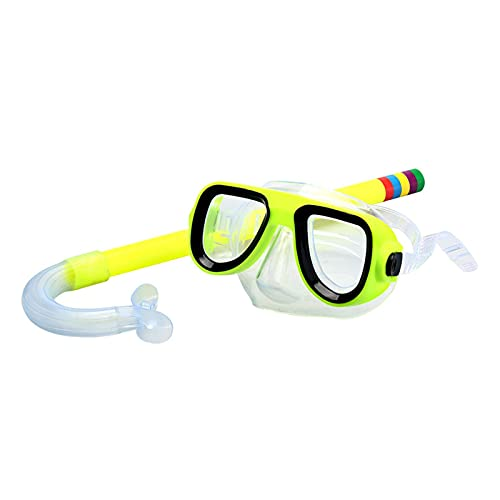 XUEXIU Niños Snorkel Gafas Set De Tubo De Succión PVC Vidrios A Prueba De Explosiones Claros No Tóxicos Tóxicos Equipos De Buceo De Verano (Color : Yellow)