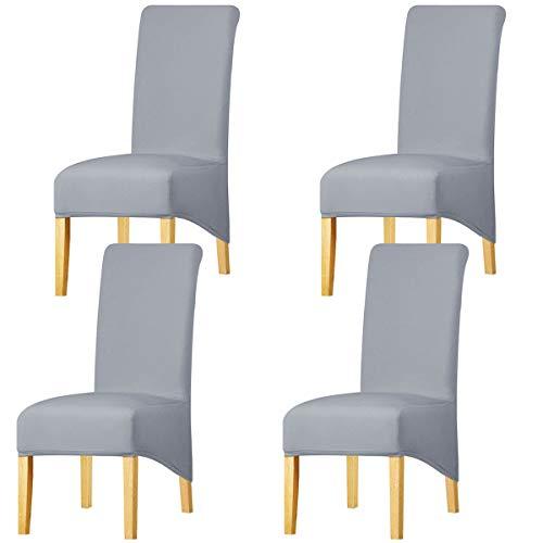 KELUINA Estiramiento sólido con respaldo alto Cubiertas de silla XL para comedor, fundas de silla de comedor grandes de Spandex para la vida en el hogar Restaurante Hotel (4 PACK,Gris claro)