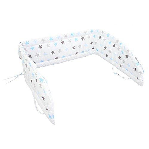 TupTam Baby Kopfumrandung für Babybett, Farbe: Sterne Blau, Größe: 210x30cm (für Babybett 140x70)