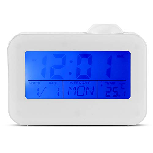 LCD Display Alarm Clock, Voice Control Ceiling Projection Digital Alarm Clock, Projection with Temperature Date Calendar Snooze