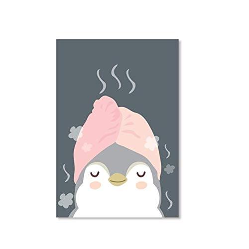 Ywsen Cartoon Leuke dieren Poster Pinguïns In Sauna Afbeelding druk canvas Schilderij voor de kinderkamer wooncultuur (geen lijst) 50x70cm