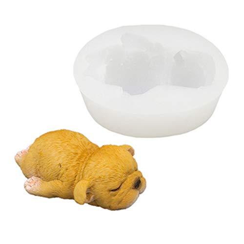 Bingxue 3D Perro Molde de Silicona Arcilla jabón Yeso epoxi Molde DIY Pastel Chocolate Postre Fondant Herramienta de decoración Suministros para Hornear