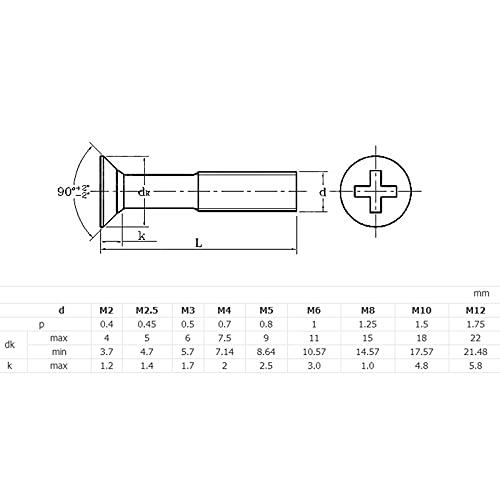 M2-0.4 (2mm) Tornillos de Tornillo de la Cabeza Plana de latón Macizo sólido Tornillos Tipo H Receso (Length : M2X8mm 100pcs)