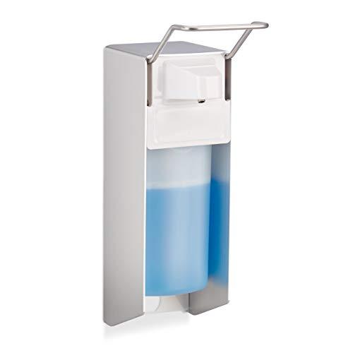 Relaxdays Dispensador Jabón 500 ml para Pared, Blanco, Plástico-Metal, 28 x 8 x 15 cm