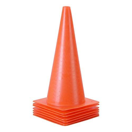 15 inch Traffic Cones, 7 Pack of Plastic Training Cones, Sport Cones for Indoor/Outdoor Activity & Festive Events (Orange)