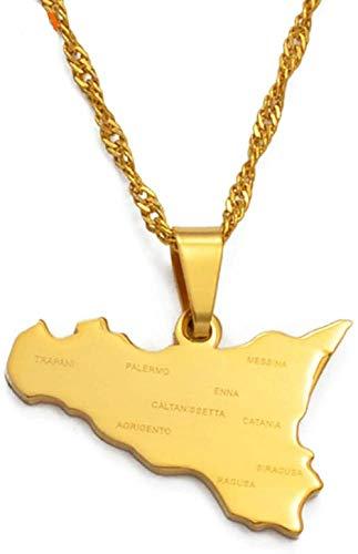 CAISHENY Mapa de Sicilia de Italia con Nombres de Ciudades Colgantes Collares Color Dorado Regalos de joyería de Sicilia Italiana