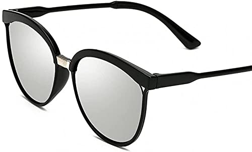 Gafas de sol de ojo de gato para mujer, de gran tamaño, Steampunk, estilo retro, lentes de color, Lente plateada,