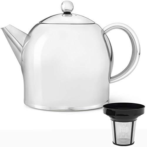 Bredemeijer Edelstahl Teekanne Set 1,4 Liter glänzend mit Teefilter Sieb