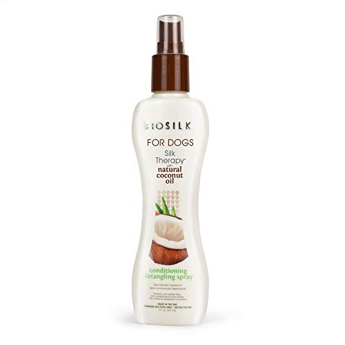 BioSilk for Dogs Silk Therapy Conditioning Detangling Spray with Organic Coconut Oil | Dog Hair Detangler, Sulfate and Paraben Free Dog Conditioner, Dog Grooming Spray 7 Fl Oz Made in The USA