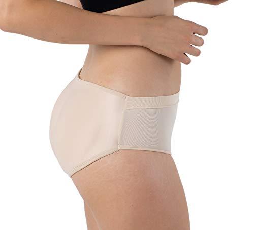 Formeasy Damen Po Push-Up Unterhose | Push Up Höschen | Padded Butt Shaper Slip/Panty Nahtlos Gepolsterte Seamless Unterwäsche (Beige, L/XL)