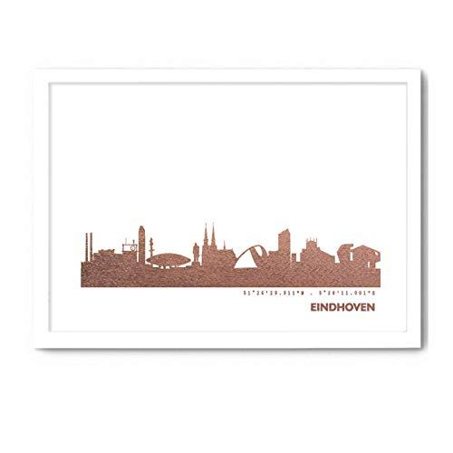 Eindhoven Skyline Bild Wandeko, Personalisierte Geschenkidee für Besondere Anlässe in S/W Rose Gold Silber Kupfer - Pesönlicher Text und Rahmen A4/A3