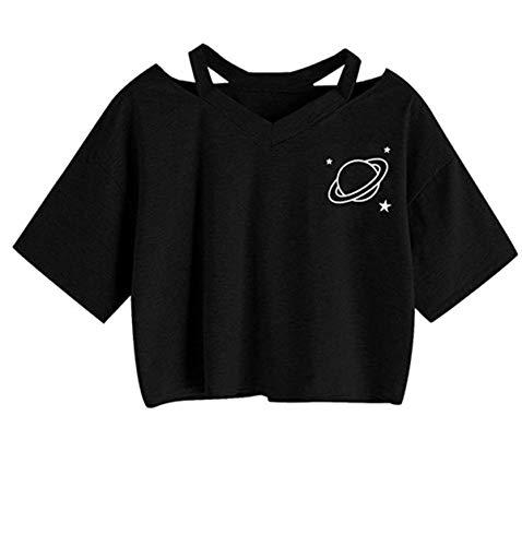 Crop Top Damen Sommer, Ulanda Teenager Mädchen Ananas Stickerei Bauchfrei Bluse Sport V-Ausschnitt Tops Shirt Hemd Frauen Kurzarm Lässiges T Shirt Oberteil Pullover Sale (Schwarz 1, S)