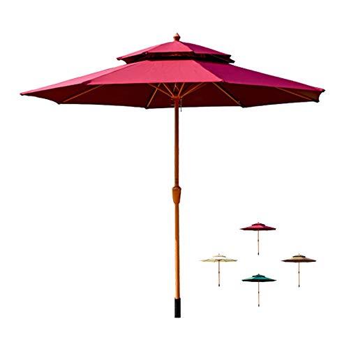 HYDT Sombrilla de Patio Sombrilla Al Aire Libre 9 Pies, Sombrilla de Mesa de Mercado de Patio de Doble Tapa sin Base, Balcón Sunbrella para Mesa de Jardín (Color : Wine Red)